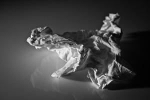 crumpled-up handkerchief